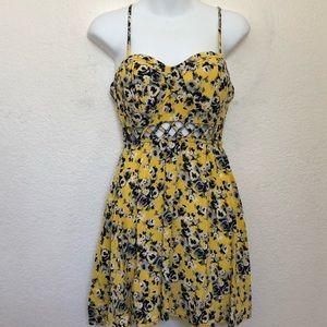 Material Girl Yellow Floral Skater Dress